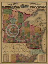 1871 RAILROAD POST OFFICE WALL MAP MINNESOTA WISCONSIN HISTORICAL  Largest Sizes