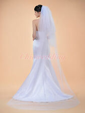 3T White/Ivory Beaded Edge Cathedral Length Wedding Bridal Veil Free Comb 2.8M