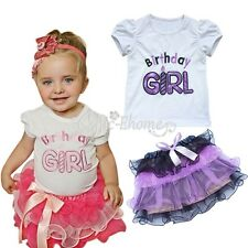2PC Baby Xmas Outfit Birthday Girl Top T-shirt Pettiskirt Dress Party Gift 0 1 2