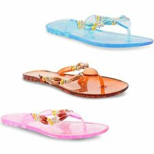 Womens Beaded Summer Jelly Toe Post Ladies Flat Open Flip Flops Sandals Size 3-8