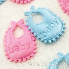 100 Fabric Bib Applique Embellishment Scrapbooking Baby Shower Pink/Blue