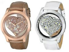 GUESS Women's White Or RoseGold Silver-Tone Clearly Inspired Heart Watch
