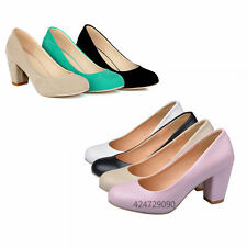 Lady Women Causal Wedge Court Shoes Vintage Chunky Heels Pumps AU Size 2-Style