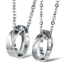 New Stainless Steel Couple Necklace Love Hook-ups Rings Pendent Jewel Gifts 879