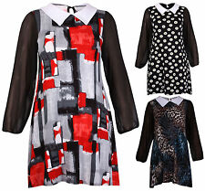 Robe Femmes Col Peter Pan Manches Longues