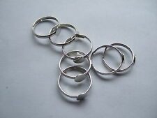Silver Tone Adjustable Blank Ring Base 15mm For Kids / Children Padding 6mm
