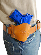 New Barsony Tan Leather Gun Quick Slide Holster Ruger Compact 9mm 40 45