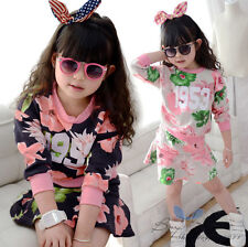 Lovely Kids Girls Floral Numbers Long Sleeve Tops Short Skirt Suit Sets Sz2-7Y