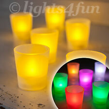 Battery Operated LED Tea Lights Candles Frosted Holders Amber / Colour Changing