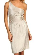 NWT TAHARI BY ASL JULIANNE SHIMMER ONE SHOULDER COCKTAIL DRESS (CHAMPAGNE) 2-4