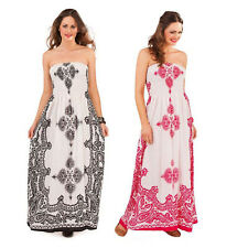 Womens Paisley Print Bandeau Maxi Pistachio New Ladies Summer Full Length Dress