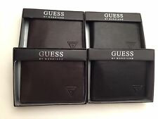 GUESS Men's Wallet ~ Black or Choco Brown Genuine Leather Passcase Bi~Fold New