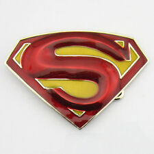 Red Yellow 3D New Superman Superhero Western Mens Metal Belt Buckle Faux Leather