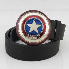 Fashion New Captain America Shield Western Mens Metal Belt Buckle Black Leather