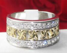 Z31812PB 2TONE BAND  925 STERLING  SILVER SIMULATED DIAMOND RING WOMENS