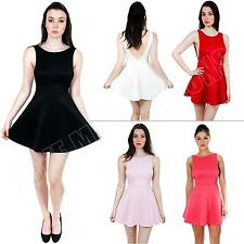 New Womens Ladies Plain Backless Party Skater Dress Skirt Size S M L XL 8 10 14