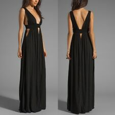 Black Deep V-neckline Open Back with Cut Out Maxi Beach Dress for Women Girl