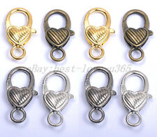 Gold Silver Plated Bronze Copper & Twill & Charms Heart Lobster Clasps 25X14MM
