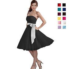 Sexy A-Line Strapless Chiffon Formal Bridesmaid Cocktail Party Dress co0735
