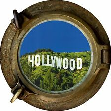 Huge 3D Porthole Hollywood Sign View Wall Stickers Film Decal Wallpaper