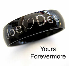 Promise Ring -  Black Titaniun / Stainless Steel / Personalized & Engraved Free