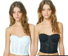 NWT Floral Lace Crop Top Bustier Corset Bralet Bra Strapless Bodycon Cami formal