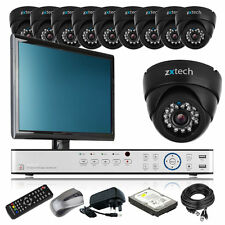 10 x LED IR Camera HD-MI 16 CH DVR CCTV Package Home & Business with Monitor UK