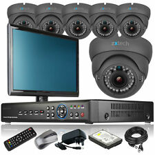 6 x Optical Zoom Camera Full D1 8 Channel DVR CCTV System Plug Play with Monitor