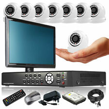 8 x Mini Compacted Camera Full D1 8 CH DVR CCTV Package Live Viewing Monitor UK