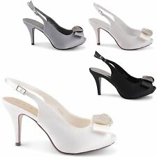 NEW LADIES SATIN WEDDING BRIDAL EVENING PEEP TOE COURT BOW SANDALS SIZES UK 3-8