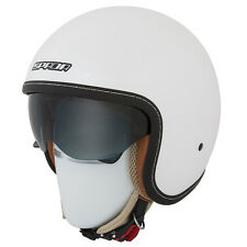 SPADA RAZE GLOSS WHITE OPEN FACE MOTORCYCLE SCOOTER HELMET SUN VISOR