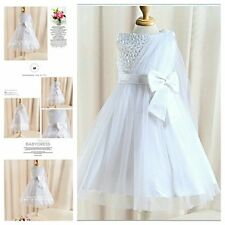 W8910 Whites Wedding Party Dresses Bridesmaid Flower Girls Dress AGE SZ 2 to 10Y