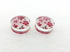 "Hot/New Hand Paint Red Cherry Blossom Double Flared Solid Plugs ( 2 g To 1""inch)"
