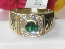 TK764pb EMERALD GREEN 18KT SIGNET PINKY   SIMULATED DIAMONDS MENS RING