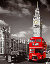 London Red Bus Big Ben POSTER FRAMED ON CANVAS & MOUNTED