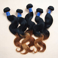 3 bundles 5A Brazilian Peruvian Indian Virgin remy human hair ombre multi color