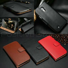100%Genuine Leather Book Style Wallet Stand Case Cover For Samsung Galaxy Models