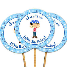 30 Cupcake Toppers With Picks Pirate Boys Birthday Party Children Kids Blue