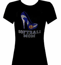RHINESTONE SOFTBALL MOM T SHIRT TOP BLACKS SIZE:S,M,L,XL,1XL,2XL,3XL SPORTS TOPS