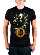 The Beatles Live Black T-shirt With Band Playing on Stage on Front