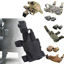Tactical Puttee Thigh Right Leg Pistol Gun Holster Pouch Khaki + Military Knee