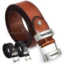 38mm Brown/Coffee/Black Genuine Leather Boys Mens Belt Silver Tone Metal Buckle