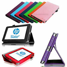 Folio Leather Stand Case Cover for HP Slate 7 (Model 2800) 7-inch Android Tablet