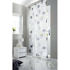 Silver Floral Voile Curtains – White & Grey Slot Top Ready Made Net Window Panel