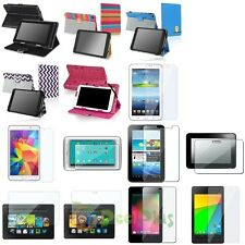"Colorful PU Leather Stand Folio Case Cover+Clear LCD Film For 7"" 7 Inch Tablet"
