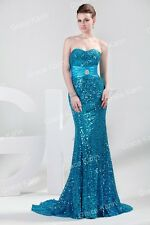Sparkling Sequins Long Bridesmaid Wedding Party Evening Ball Gown Prom Dresses