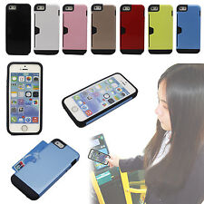 Dual Layer Credit ID Card Wallet Holder Back Hybrid Cover Case For iPhone 5 5S