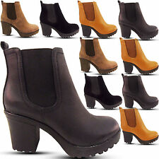 NEW WOMENS LADIES ANKLE CHELSEA BOOT BLOCK MID HEEL CLEATED SOLE GUSSET SHOES