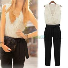 Hot Woman V-neck Lace Scalloped Jumpsuit Cocktail Evening Outfit S-XL N#S7