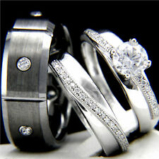 New 3pcs Womens Engagement Sterling Silver Mens Wedding Tungsten Bridal Ring Set